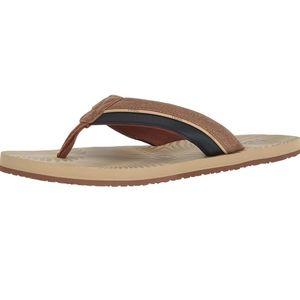 Flojos tan/navy men's sandals sz 12 [U44K]